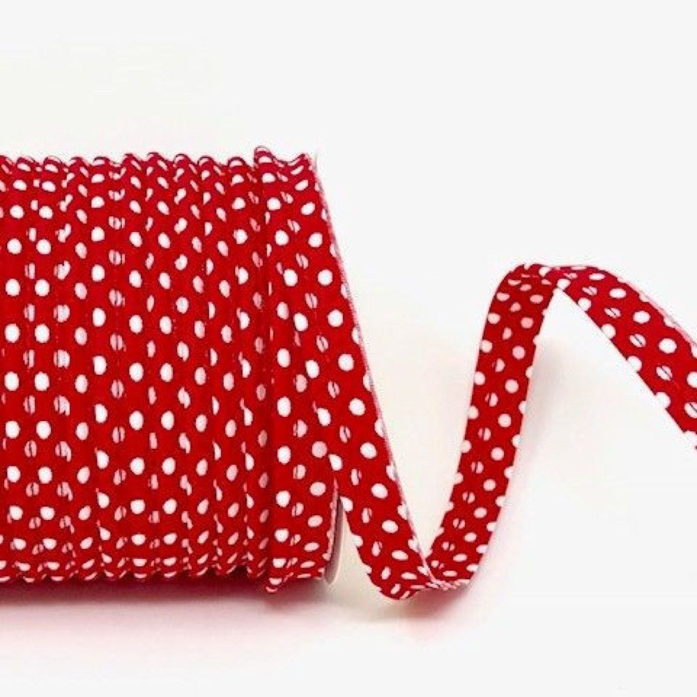 Polycotton Spotty Piping Bias Binding - 10mm Wide - Red With White Dots