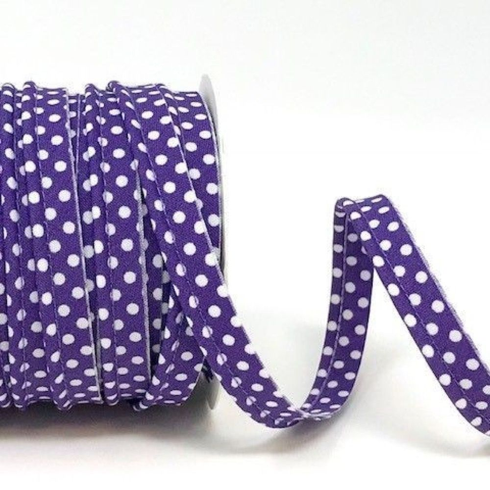 Polycotton Spotty Piping Bias Binding - 10mm Wide - Purple With White Dots