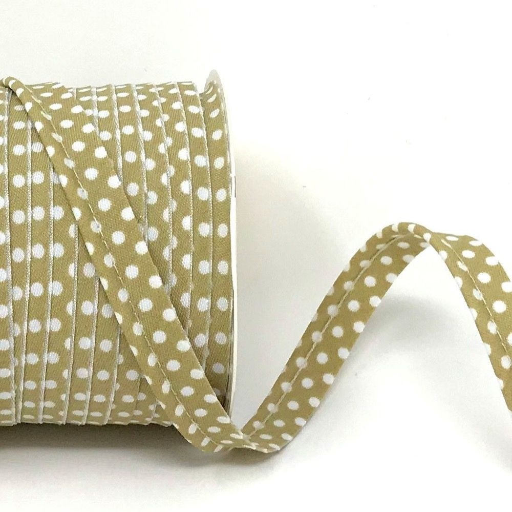 Polycotton Spotty Piping Bias Binding - 10mm Wide - Stone With White Dots