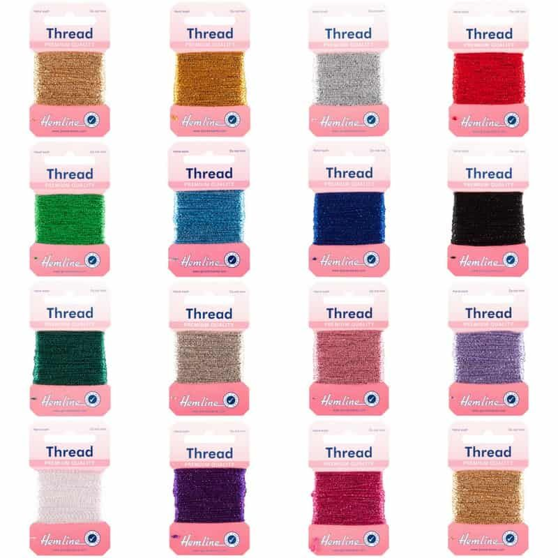 Hemline Glitter Thread 10m Cards - 15 Colours