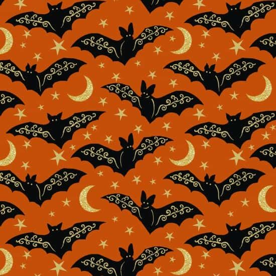Henry Glass - Midnight Spell - Directional Bats With Gold On Orange