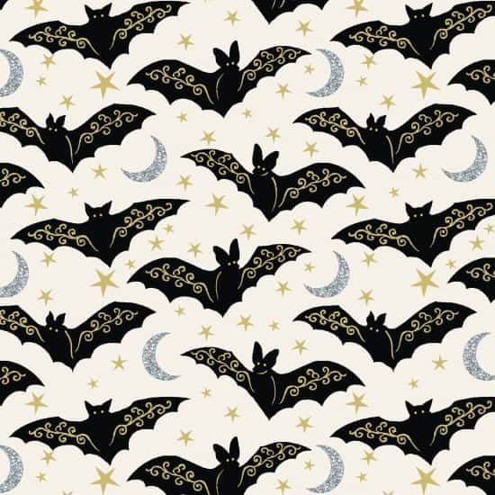 Henry Glass - Midnight Spell - Directional Bats With Gold On Cream
