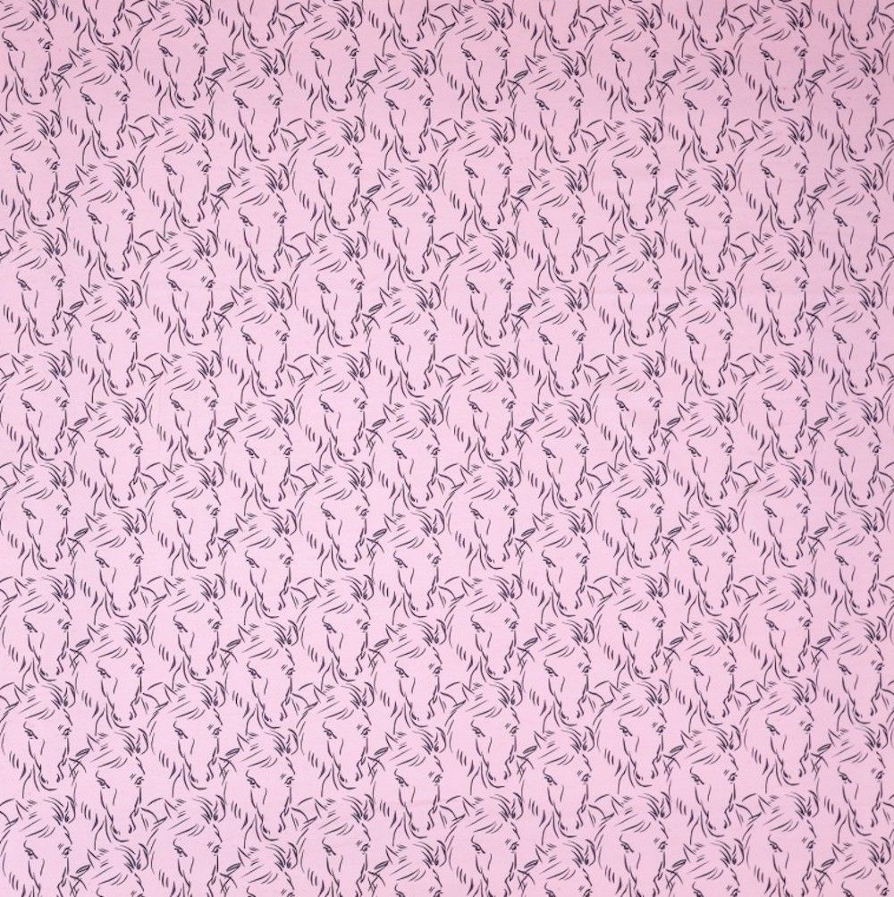 Stretch Cotton Spandex Jersey Knit - Horse Faces On Pink