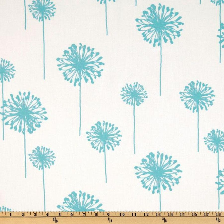 Premier Prints - Blue Dandelions On Twill Cotton