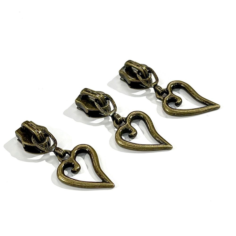 Metal Replacement Zip Pull - For #5 Nylon Zips - Antique Brass Heart Shaped Metal Pull