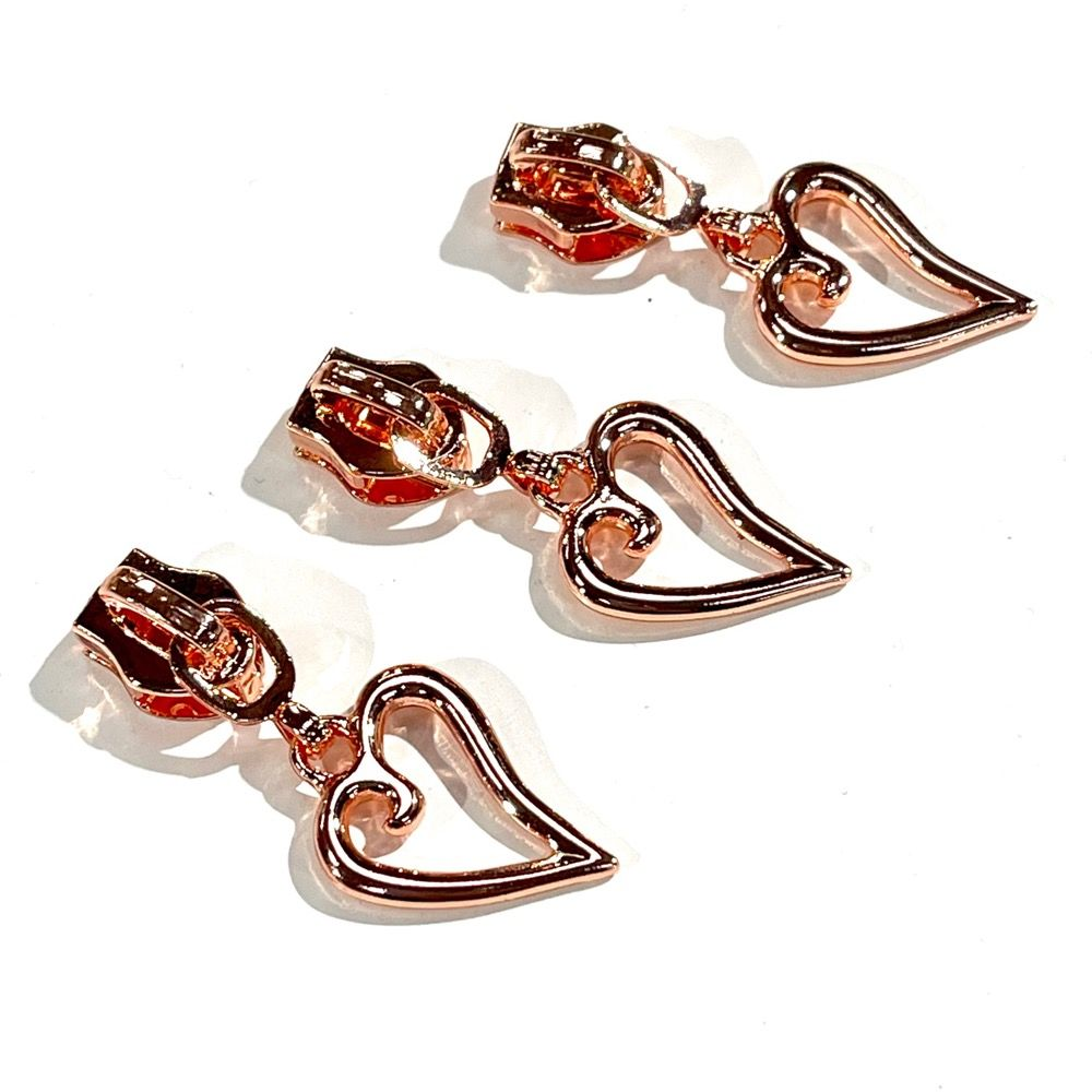 Metal Replacement Zip Pull - For #5 Nylon Zips - Rose Gold Heart Shaped Metal Pull