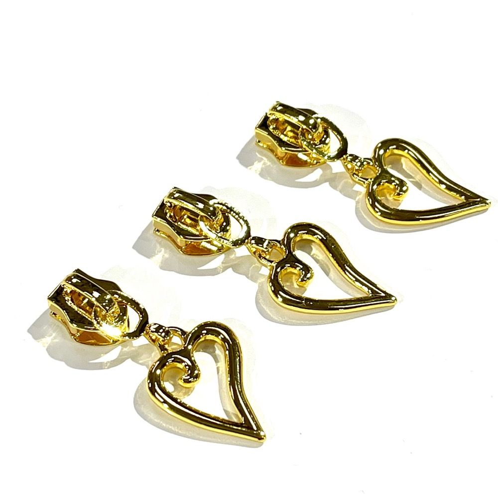 Metal Replacement Zip Pull - For #5 Nylon Zips - Gold Heart Shaped Metal Pull