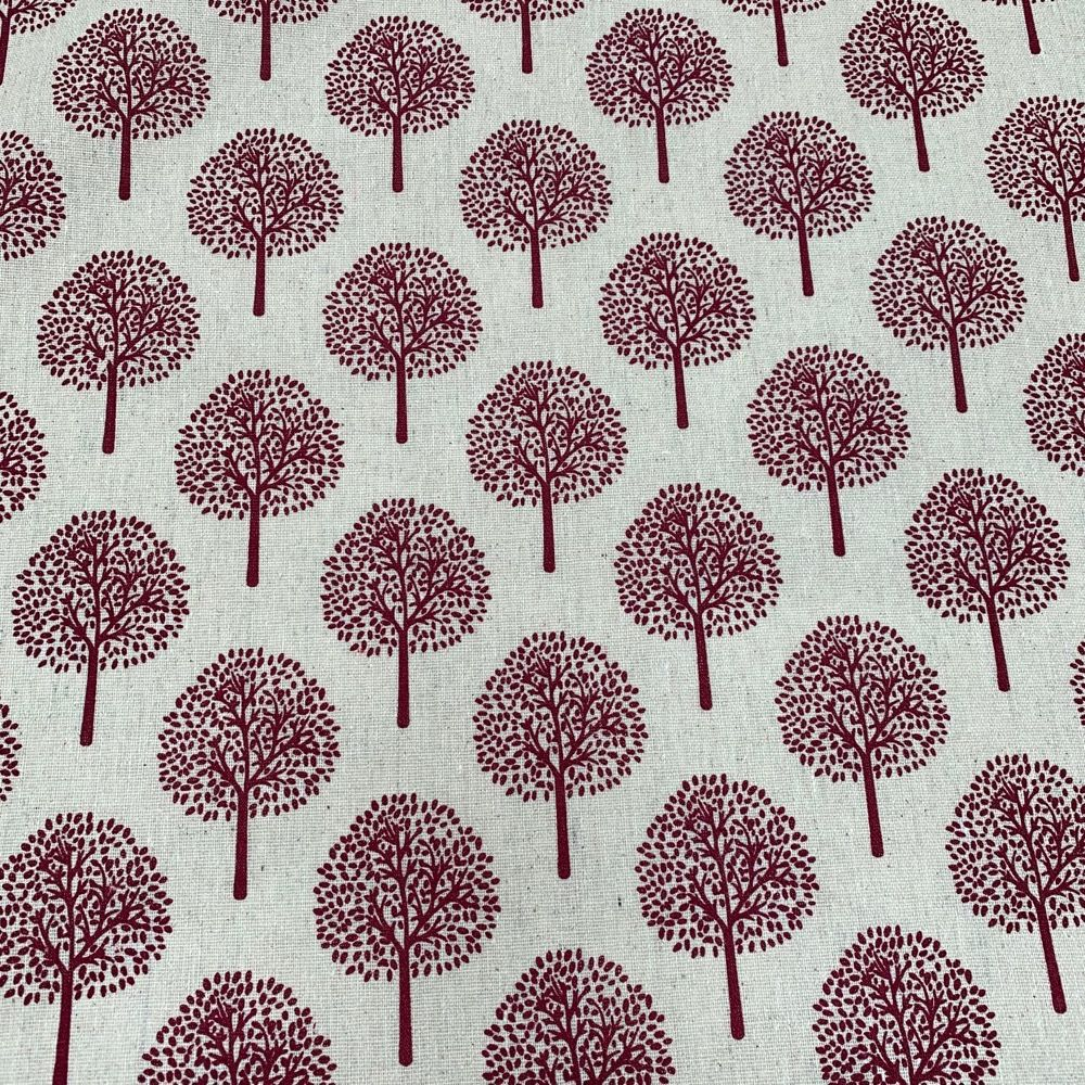 Cotton Fabric - Linen Look Canvas - Red Trees On Natural