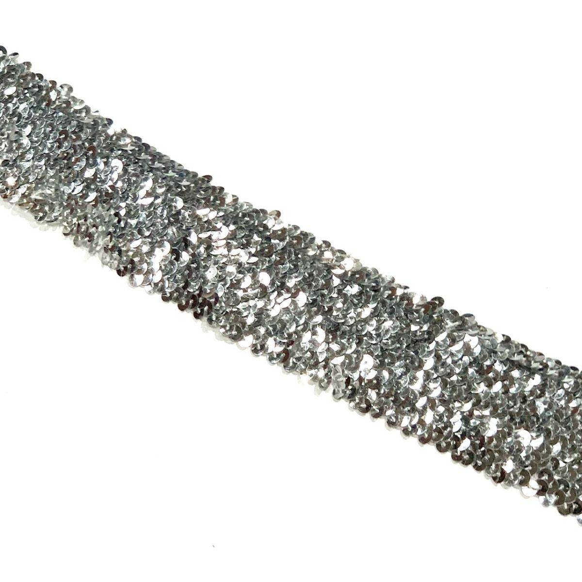 Sequins Stretch Trim - 6 Row 50mm wide Silver