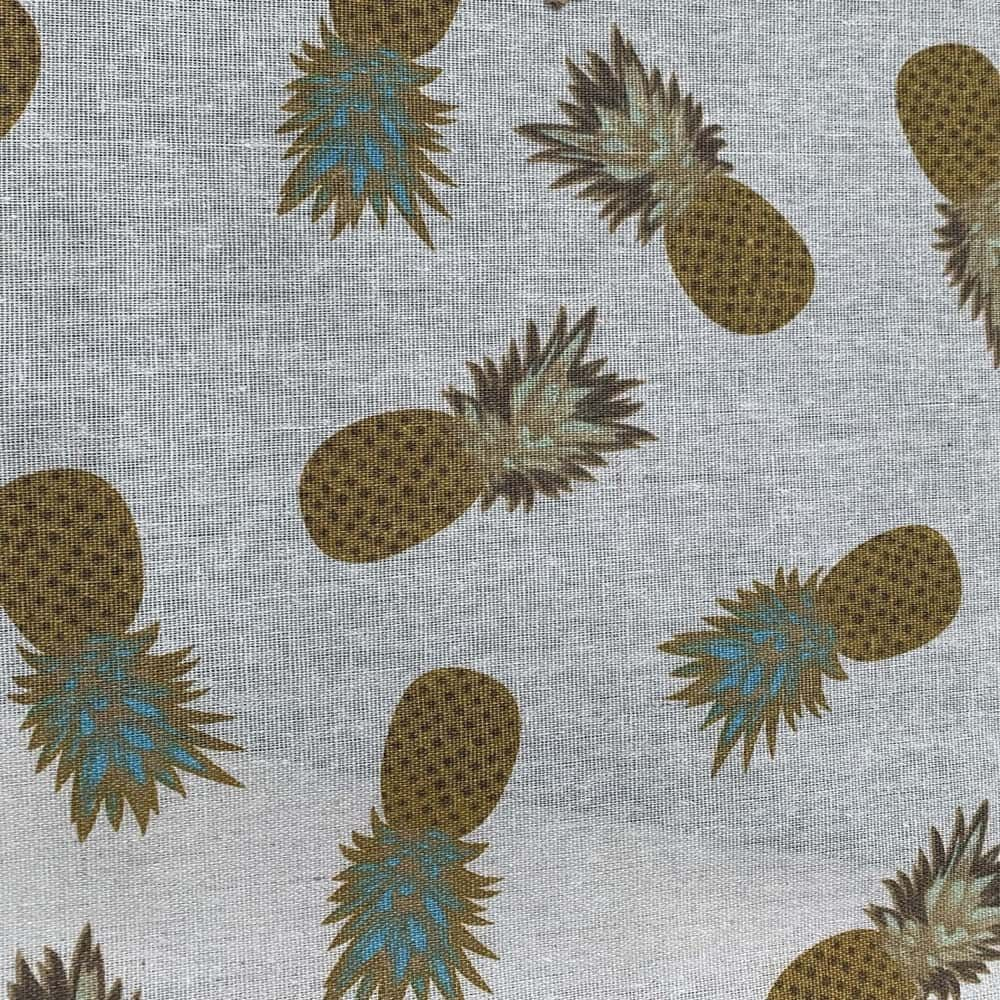 Cotton Fabric - Linen Look Canvas - Pineapples On Natural