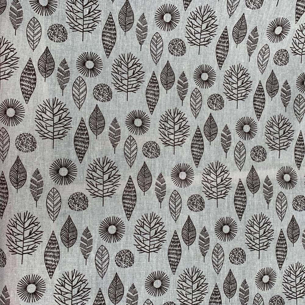 Cotton Fabric - Linen Look Canvas - Leaves On Natural