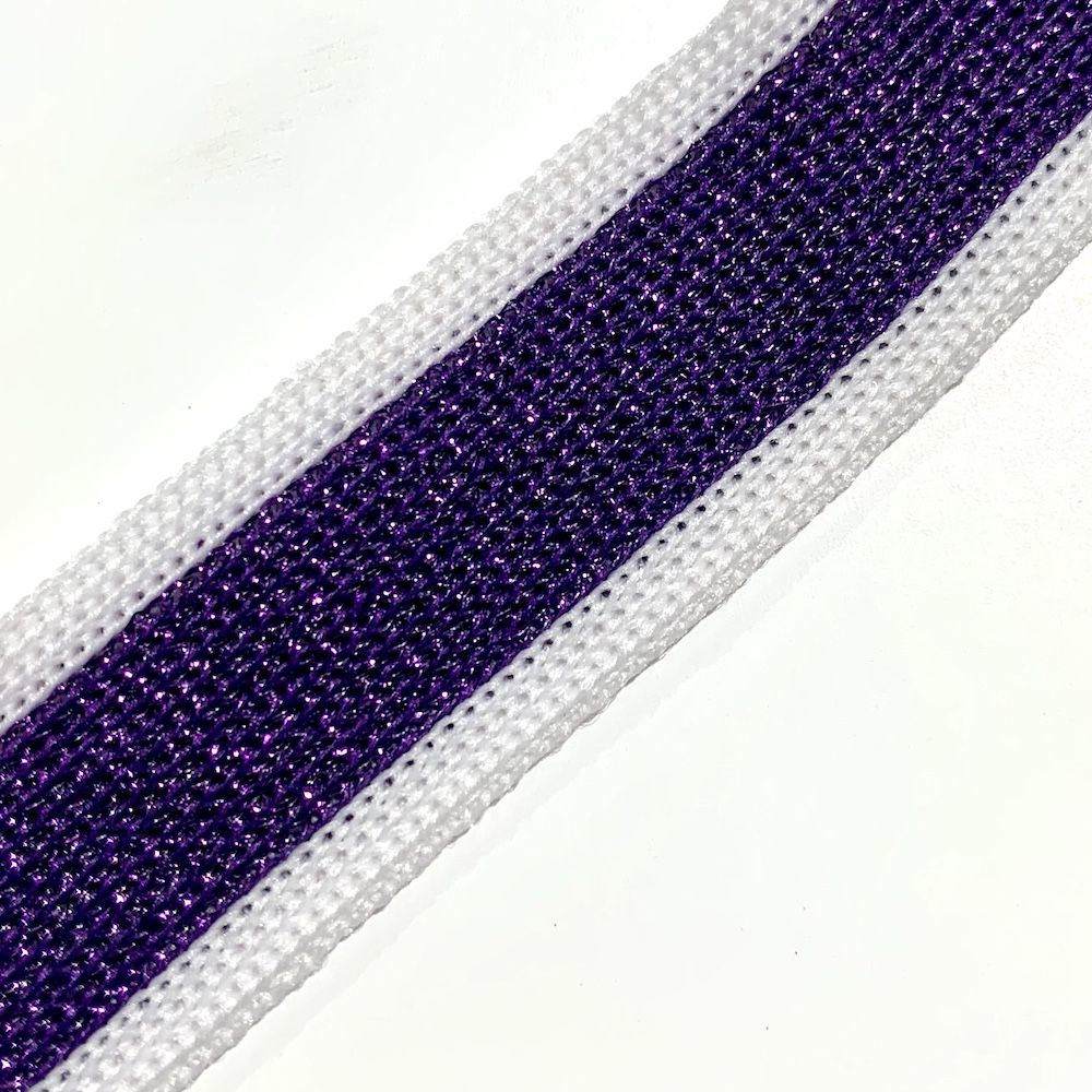 Soft Metallic Knit Webbing 20mm Wide - White And Purple