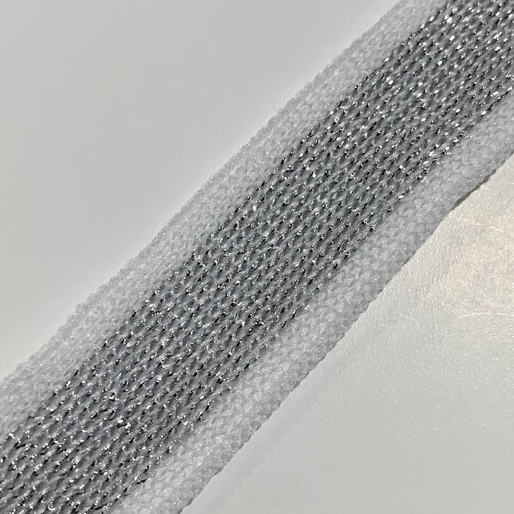 Soft Metallic Knit Webbing 20mm Wide - White And Silver