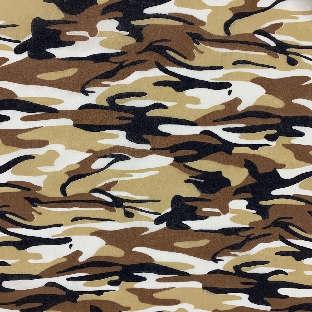 Camouflage Polycotton - Brown Army Camouflage