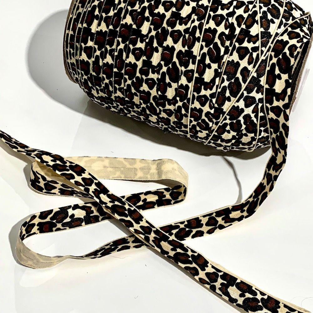 Fold Over Elastic 16mm Wide - Leopard Print