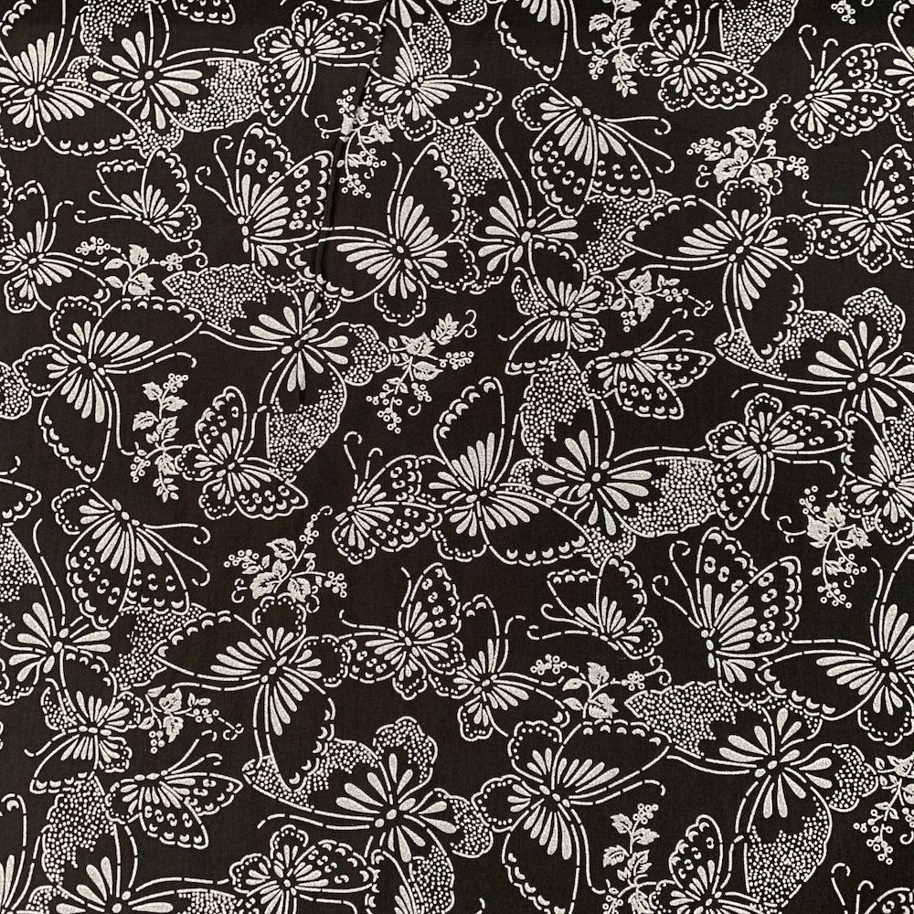 Nutex - Extra Wide Fabric - Butterflies White On Black