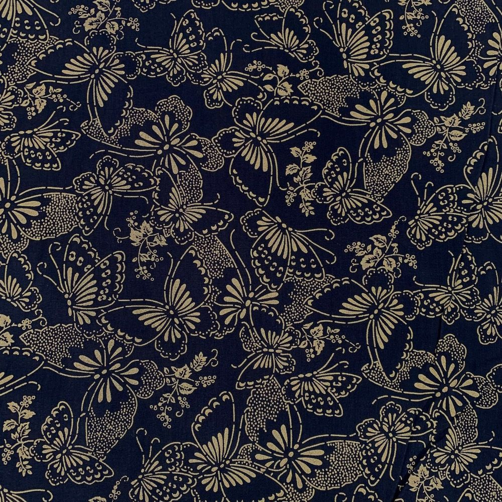 Nutex - Extra Wide Fabric - Butterflies Gold On Black