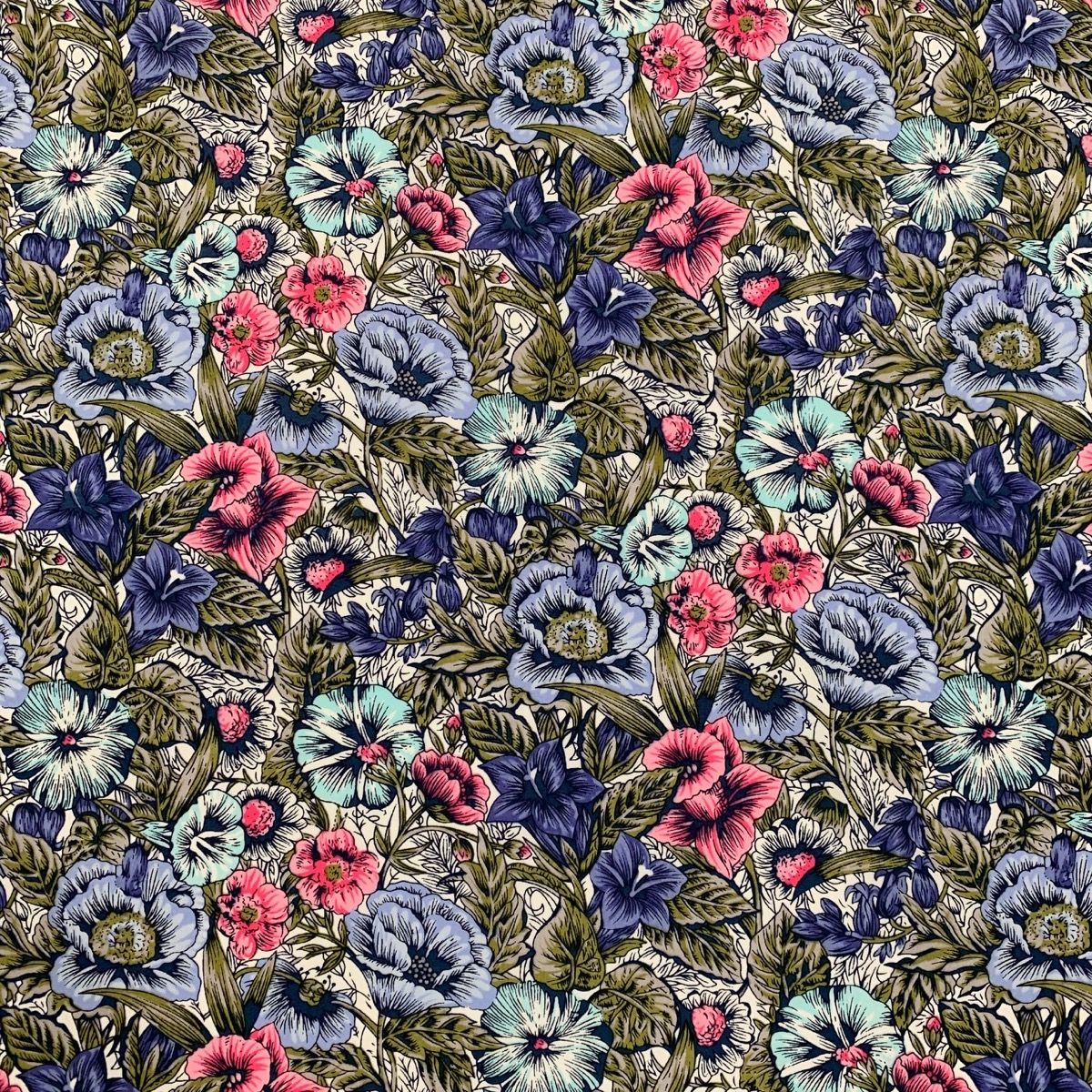 Cotton Lawn - Pink And Blue Country Floral