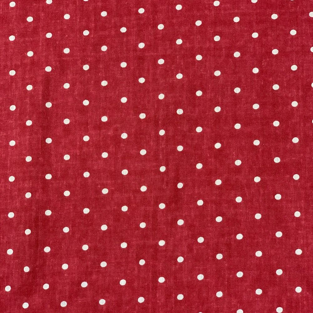 Linen Viscose Blend  - White Spots On Red