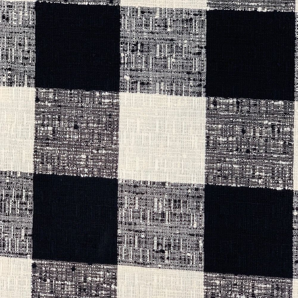 Textured Yarn Dyed Cotton Dress Fabric - Large Black And White Check