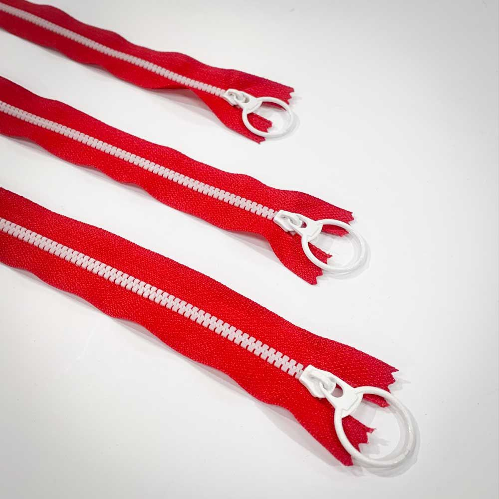 Dual Colour No. 3 Plastic Chunky Style Zip - Red / White - 6