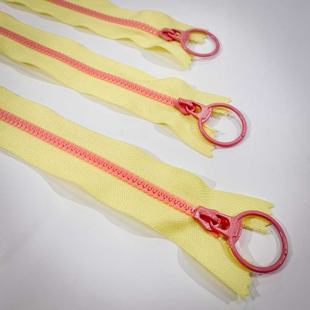 Dual Colour No. 3 Plastic Chunky Style Zip - Yellow / Pink - 12