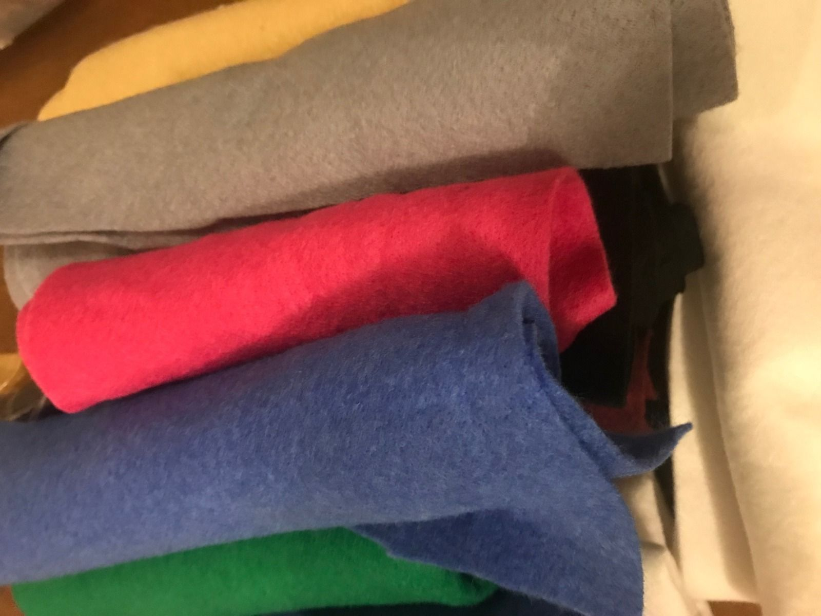 Remnant Wool Felt Strips Bundle: Mixed Colours: Lucky Dip - 1m x 180cm approx
