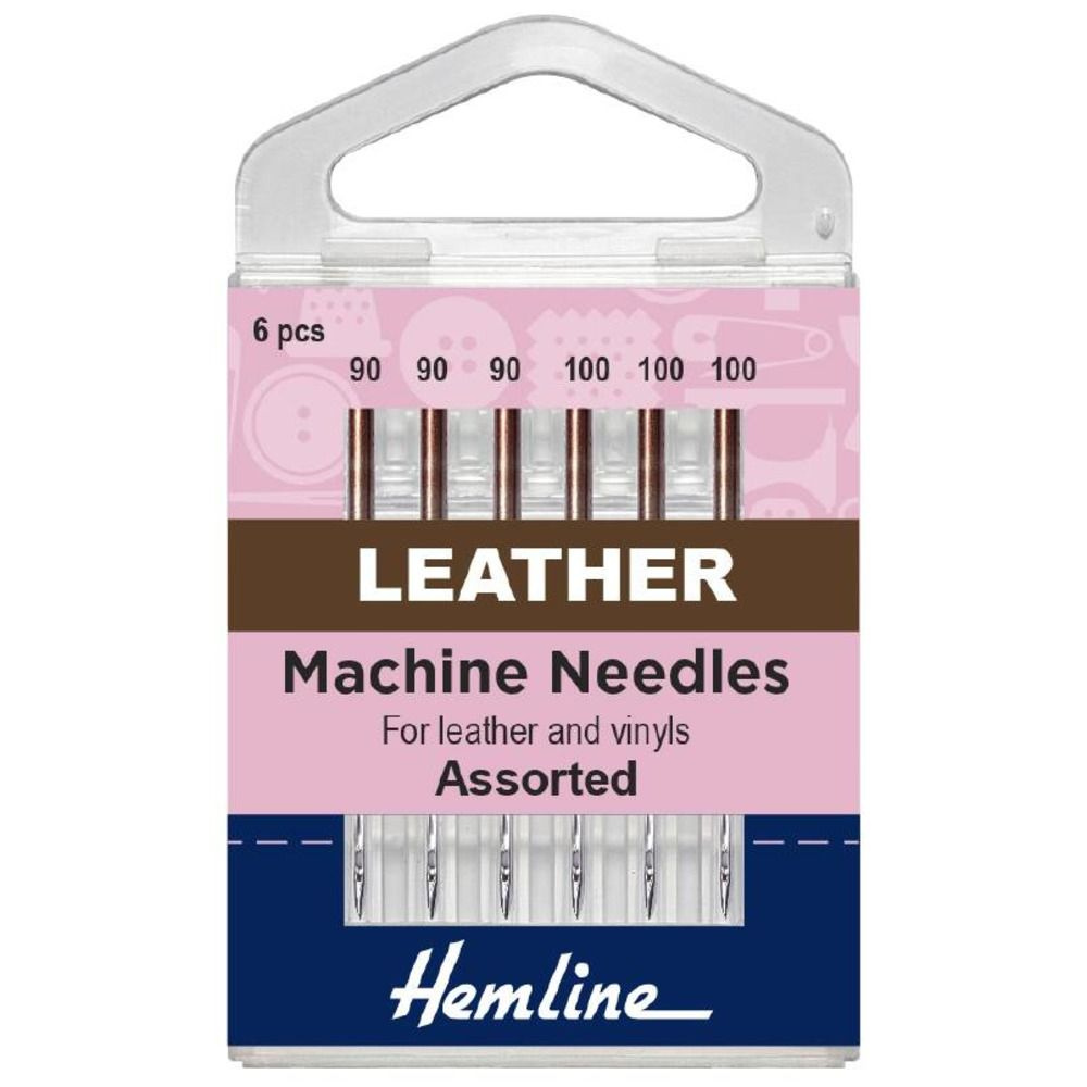 Hemline Sewing Machine Needles: Leather: Mixed: 6 Pieces