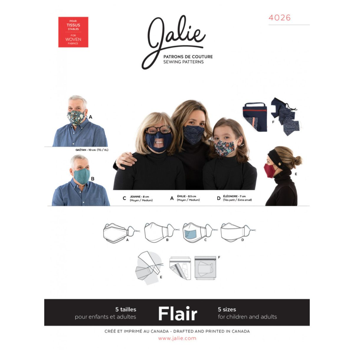 Jalie  -  Flair Face Masks and Accessories Pattern