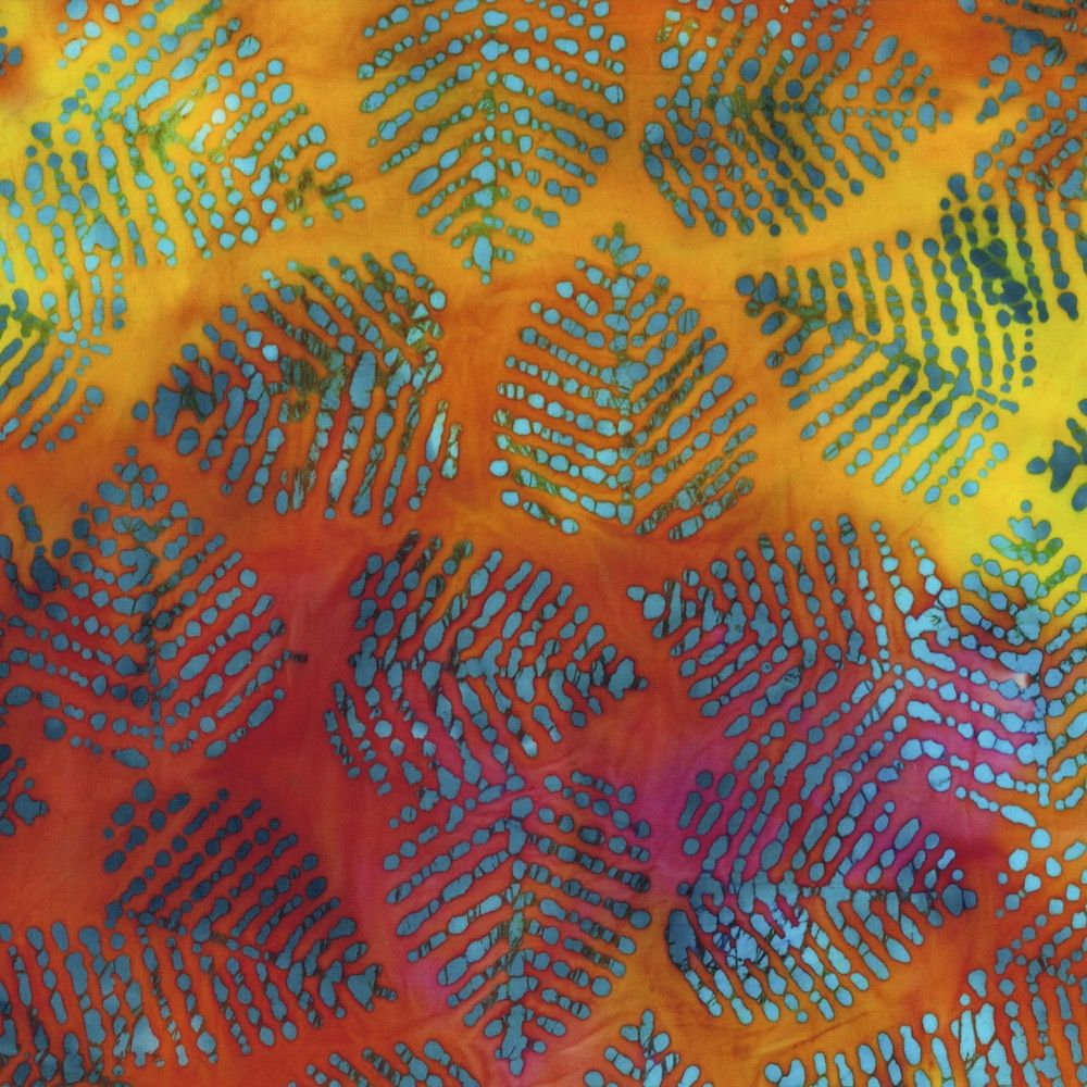 Batik Cotton Fabric -  Leaves Sunset