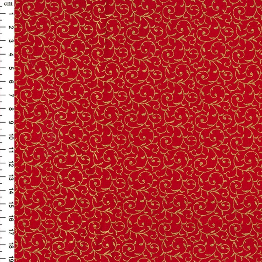 Christmas Cotton Scroll Red Metallic