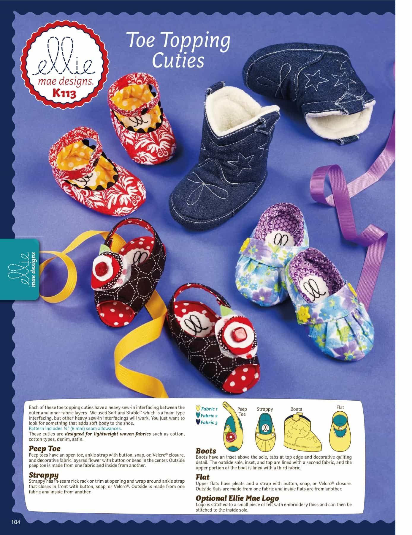 Kwik Sew Sewing Pattern K0113 Toe Topping Cuties