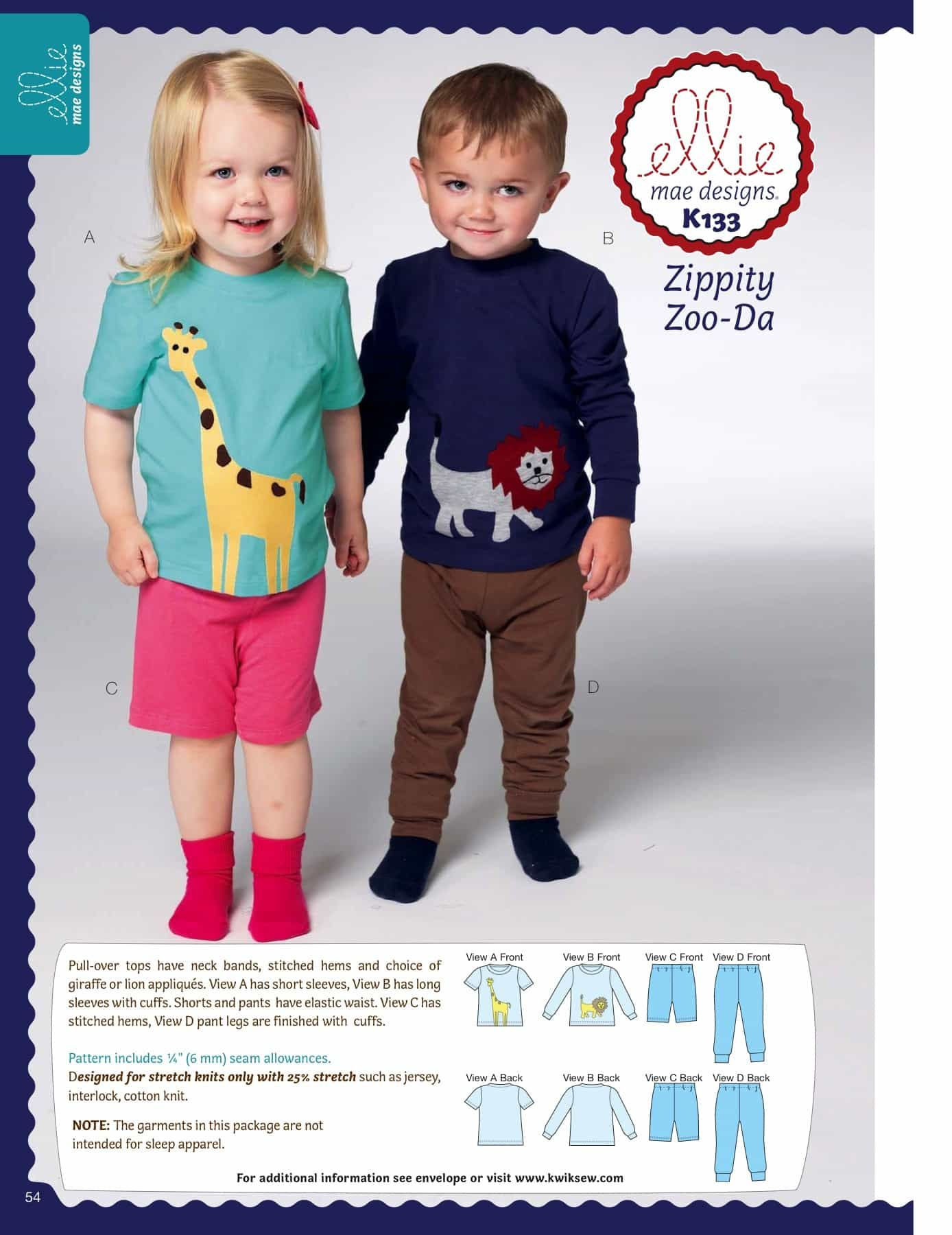 Kwik Sew Sewing Pattern K0133 Toddlers' Top, Shorts and Pants