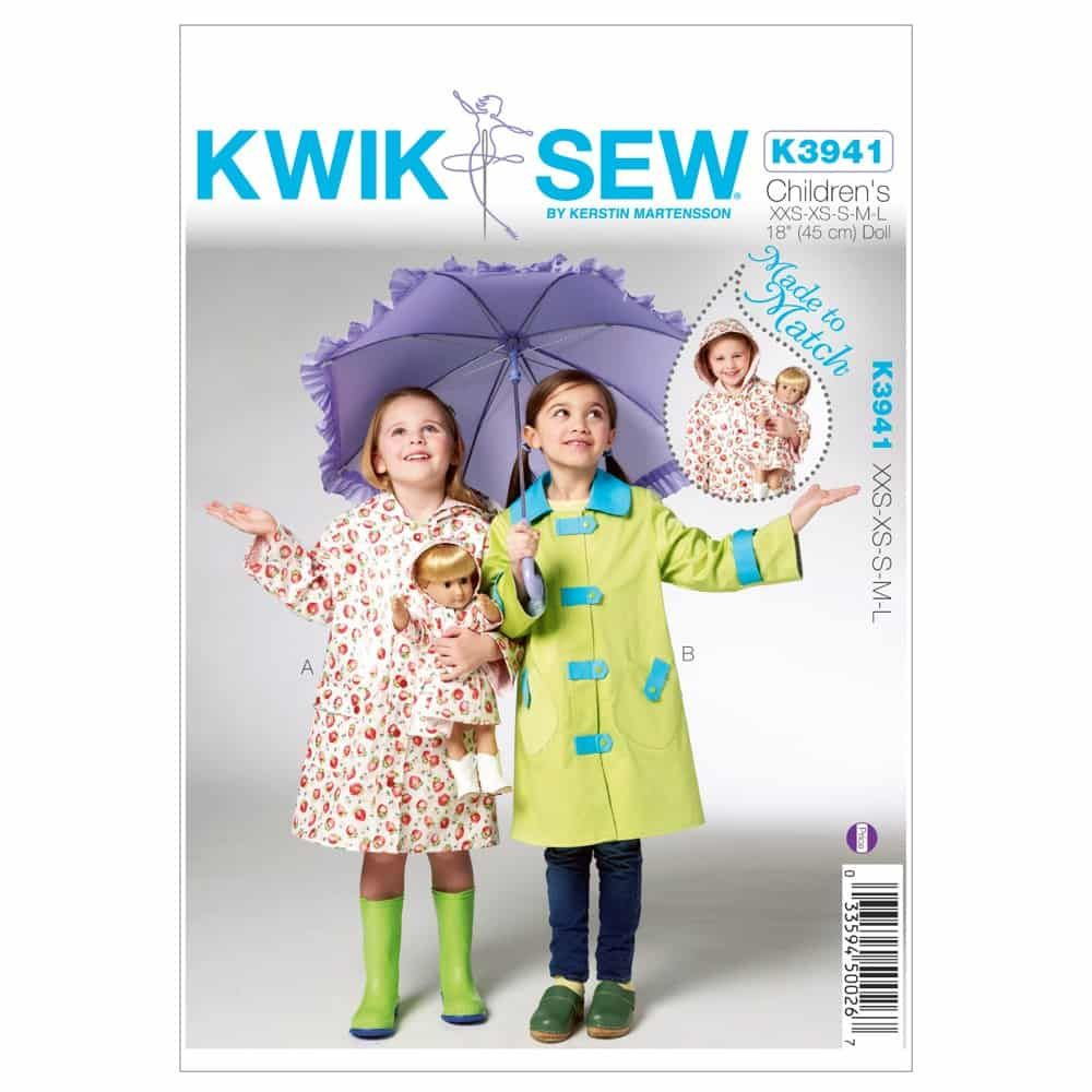 Kwik Sew Sewing Pattern K3941 Children's & Doll Raincoats
