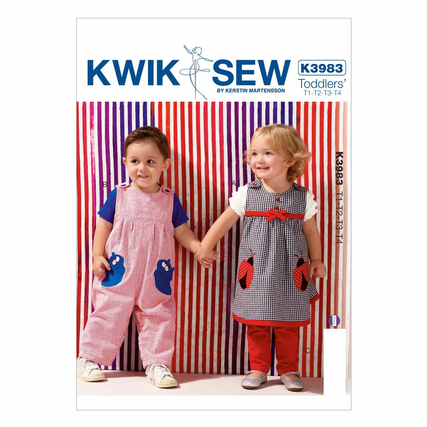 Kwik Sew Sewing Pattern K3983 Toddlers' Dress, Overalls and Pants