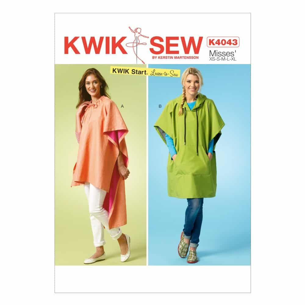 Kwik Sew Sewing Pattern K4043 Misses' Ponchos