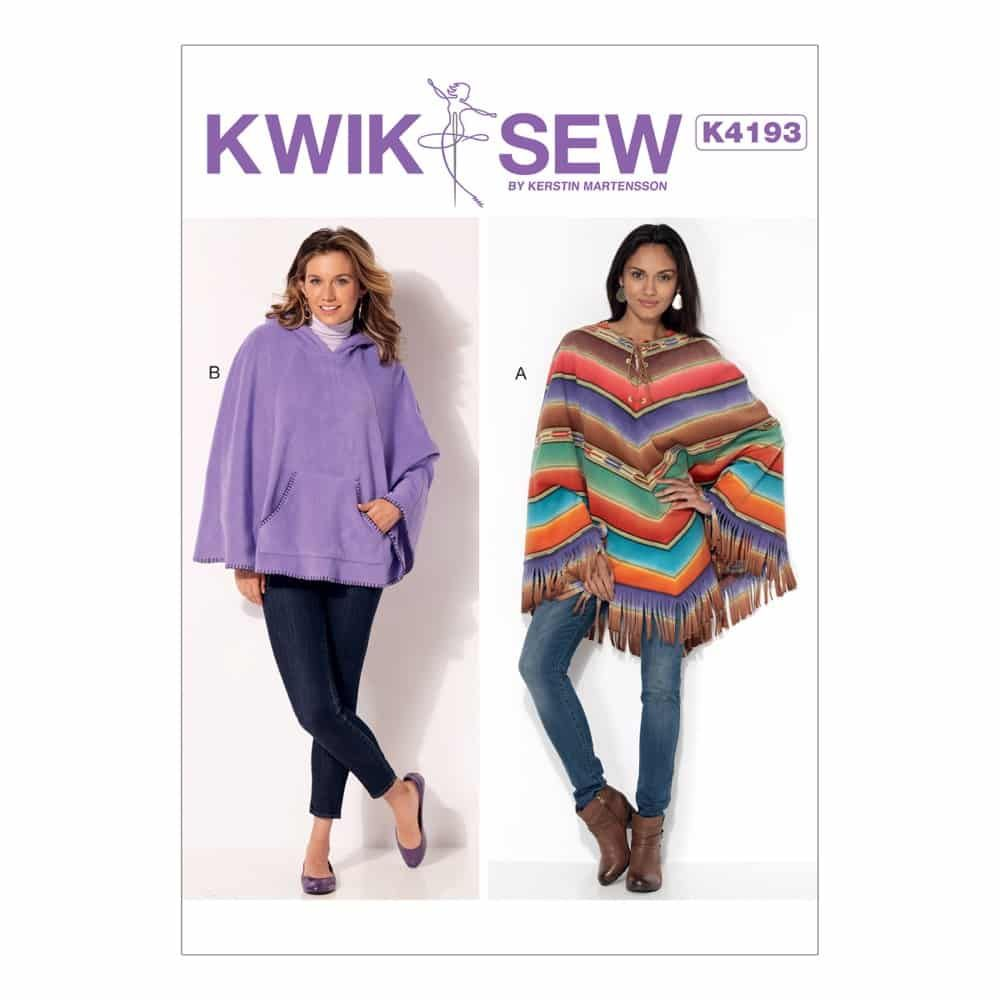 Kwik Sew Sewing Pattern K4193 Misses' Lace-Up or Hooded Ponchos with Fringe or Kangaroo Pocket