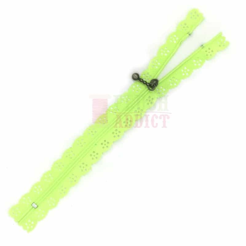 Lace Edged Zip 20cm - Acid Green