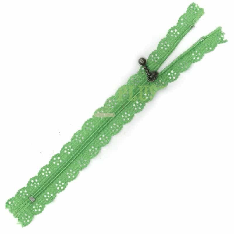 Lace Edged Zip 20cm - Grass Green