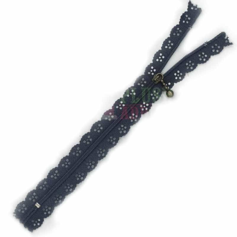 Lace Edged Zip 20cm - Navy