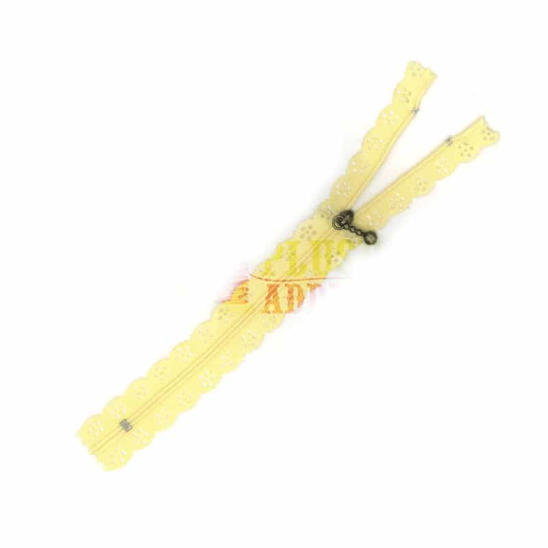 Lace Edged Zip 20cm - Yellow