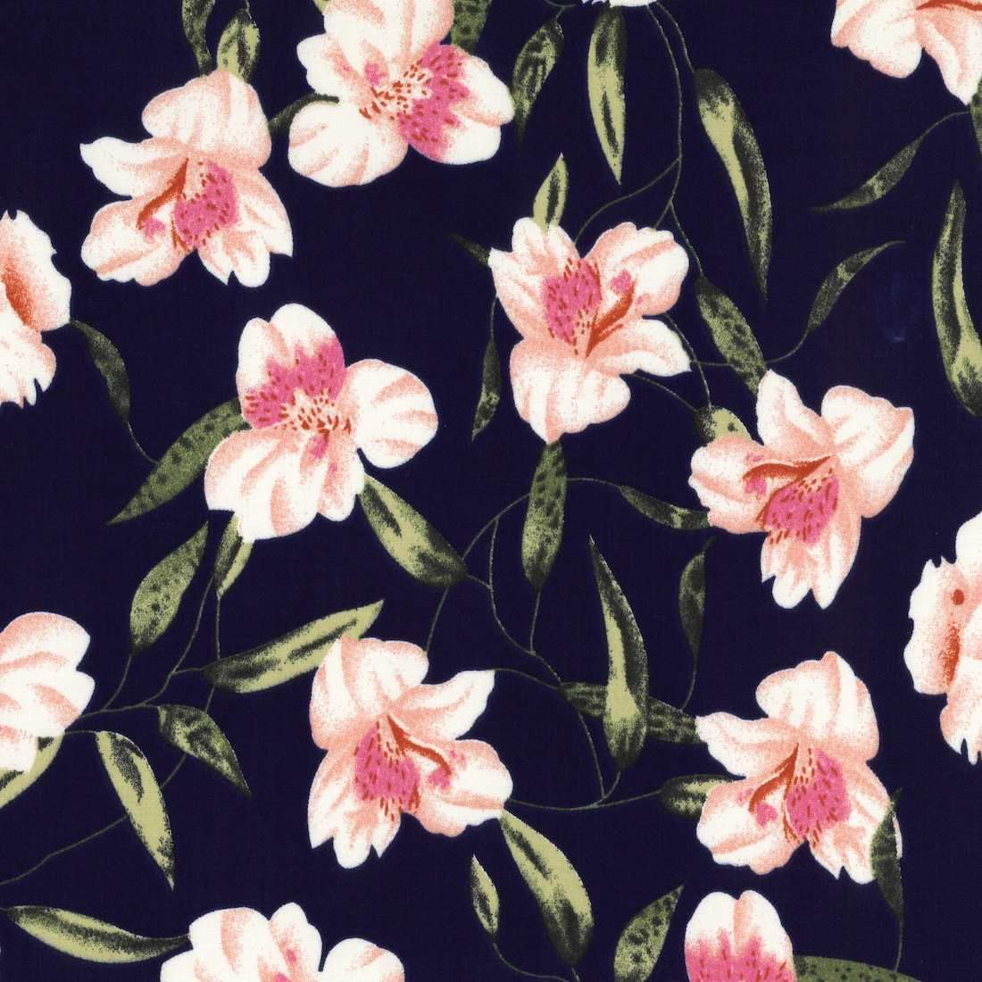 Stretch Cotton Fabric - Lilies On Navy