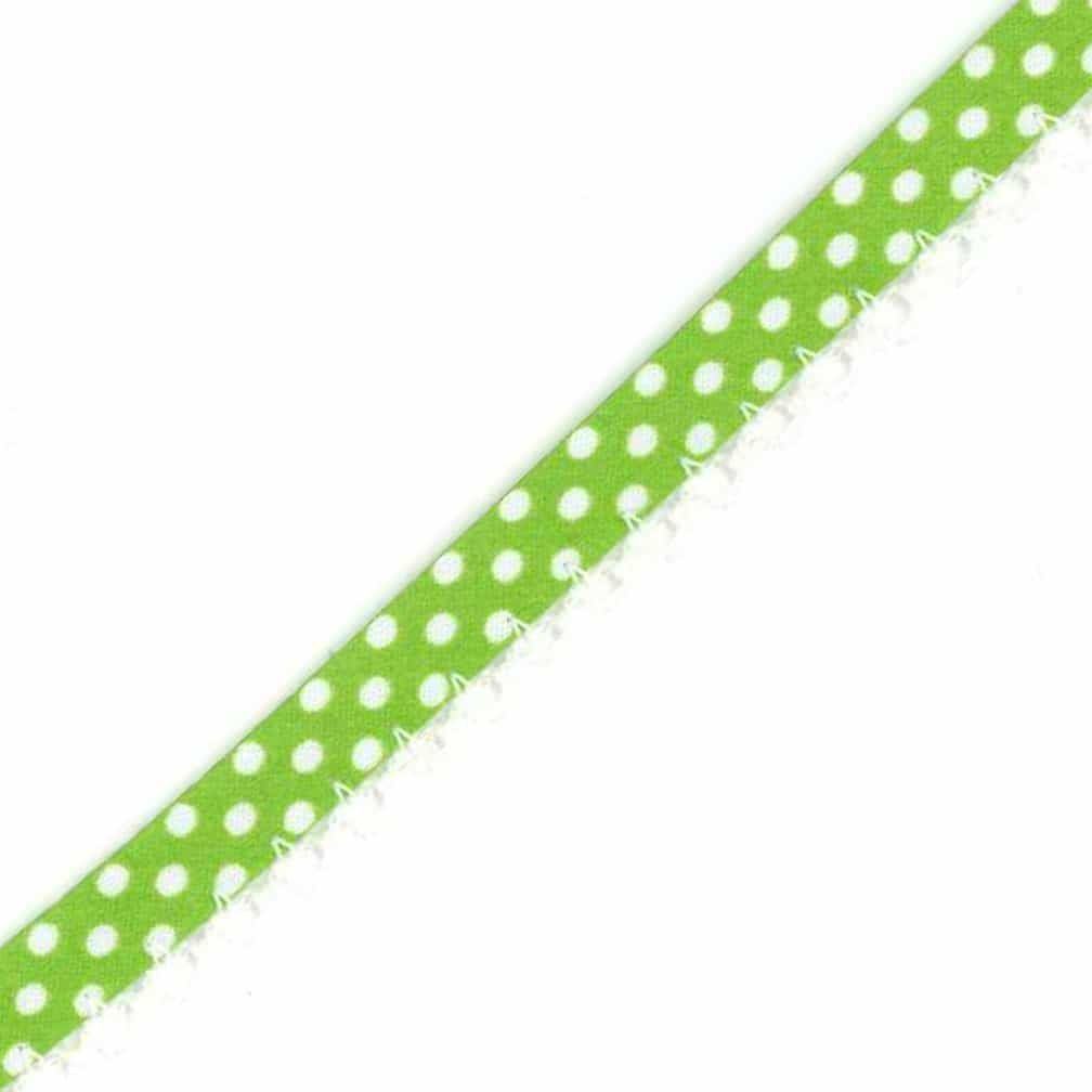 Remnant - 12mm Bias Binding Double Folded Lace Edged Lime Green With White Polka Dots - 5 Metre LENGTH