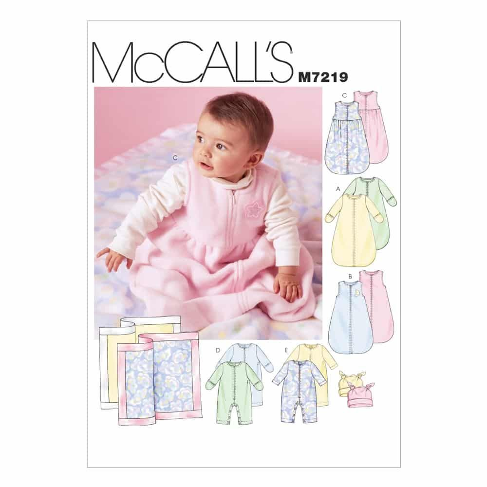 McCalls Sewing Pattern M7219 Infants' Buntings, Jumpsuits, Hats and Blanket