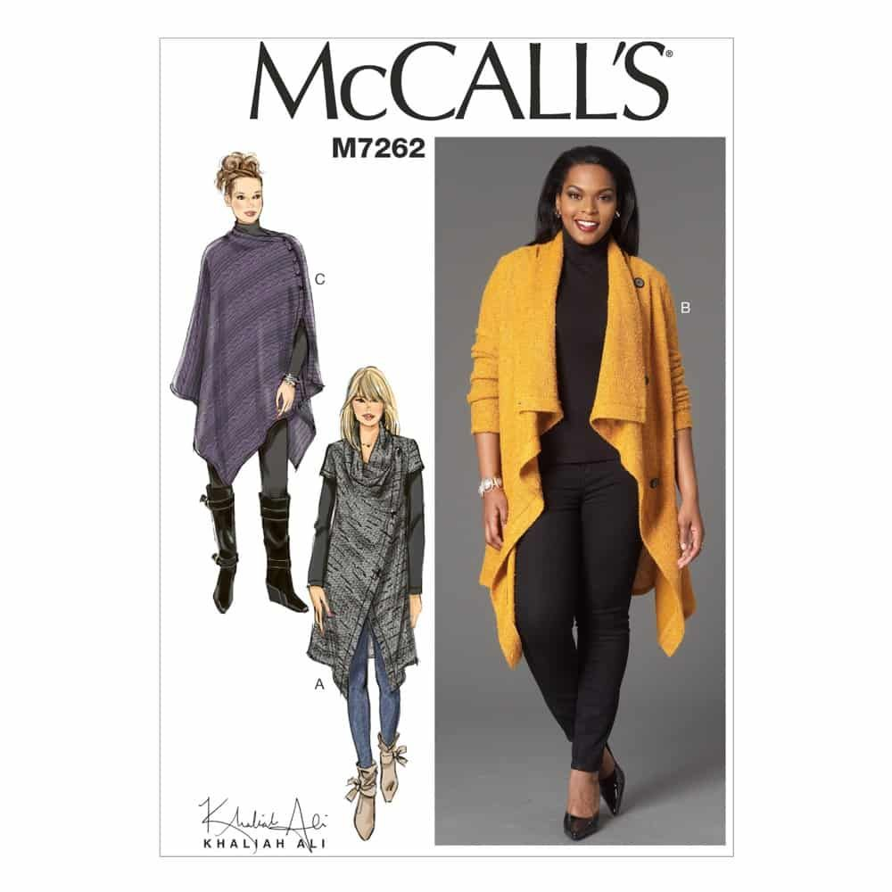 McCalls Sewing Pattern M7262 Misses'/Women's Sweater Coat and Poncho