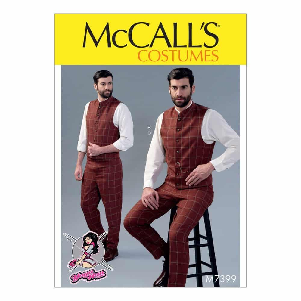 McCalls Sewing Pattern M7399 Men's Single or Double-Breasted Vests and Flat-Front Pants