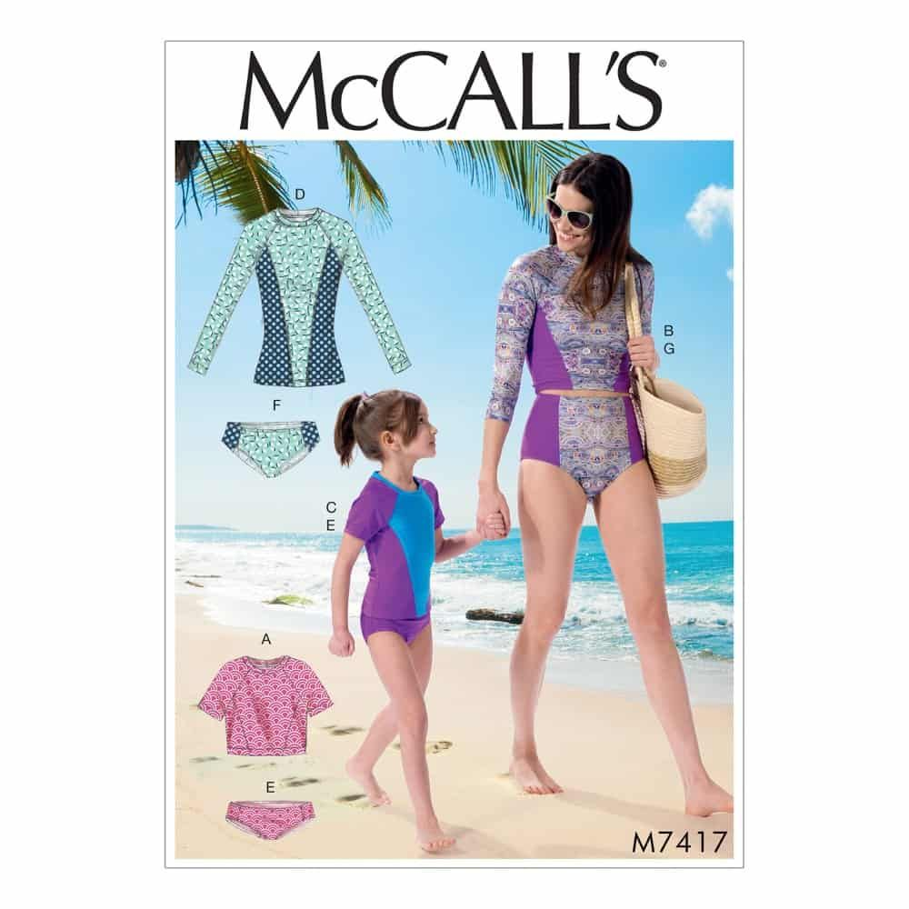 McCalls Sewing Pattern M7417 Misses'/Girls' Swimsuits