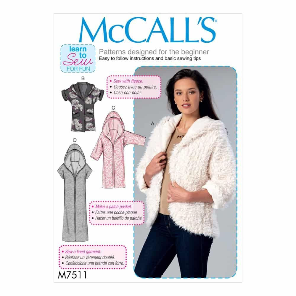 McCalls Sewing Pattern M7511 Misses' Open-Front Jackets with Shawl Collar and Hood