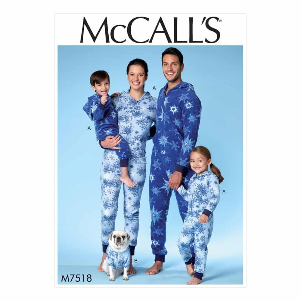 McCalls Sewing Pattern M7518 Men's/Misses'/Boys'/Girls'/Children's Hooded Jumpsuits and Dog Coat with Kangaroo Pocket
