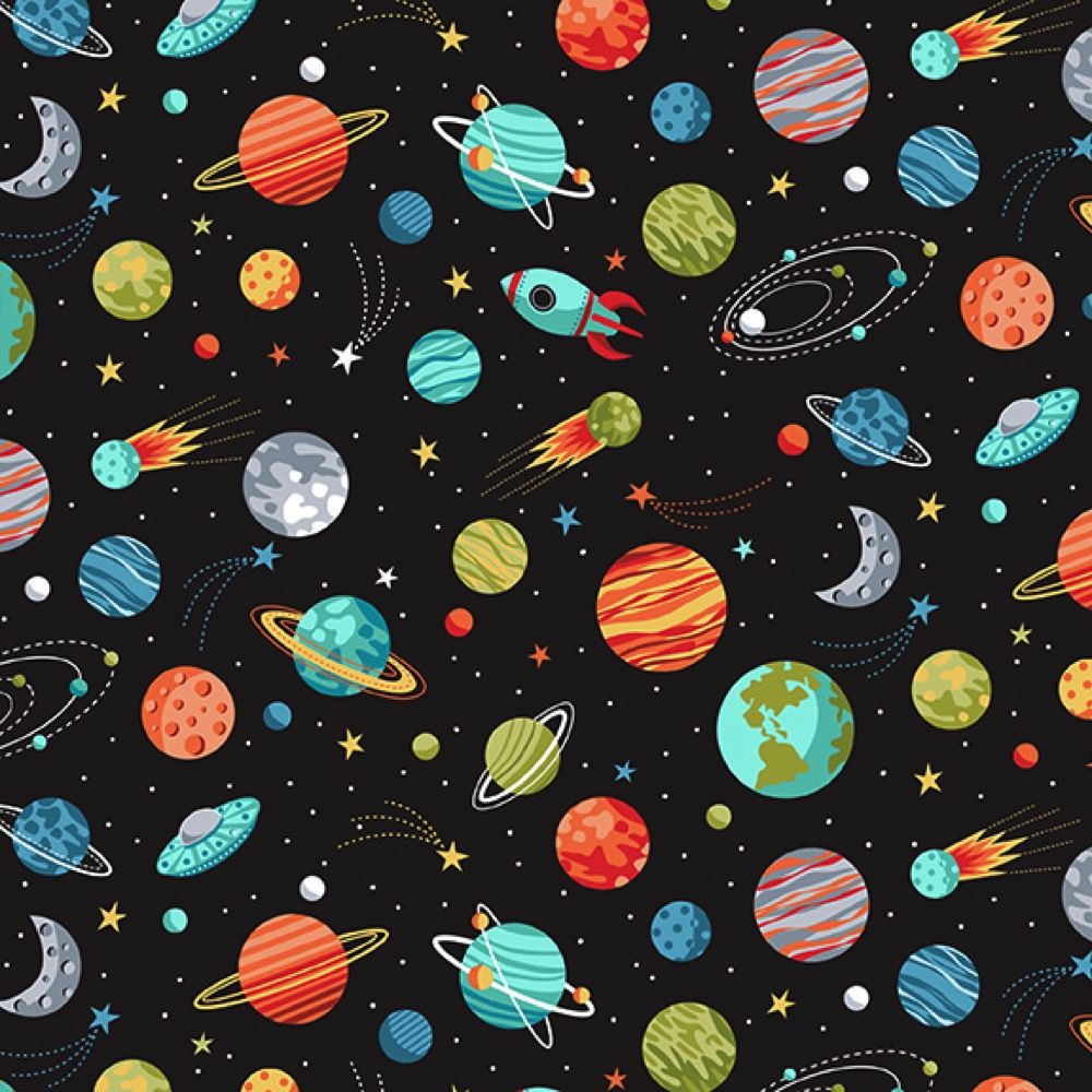 Makower - Outer Space - Planets Black